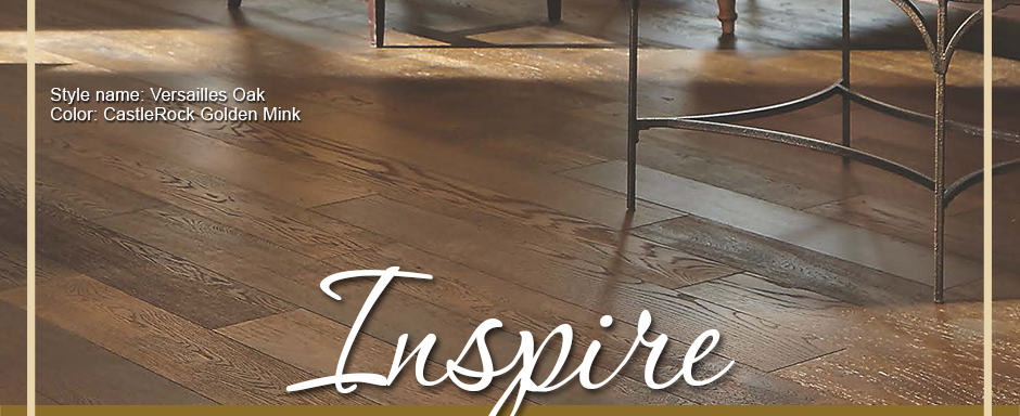 Inspire. Mullican Flooring Style Name: Versailles Oak | Color: CastleRock Golden Mink