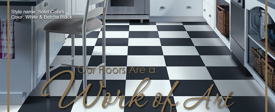Our Floors Are a Work of Art. Style Name: Solid Colors | Color: White & Betcha Black.